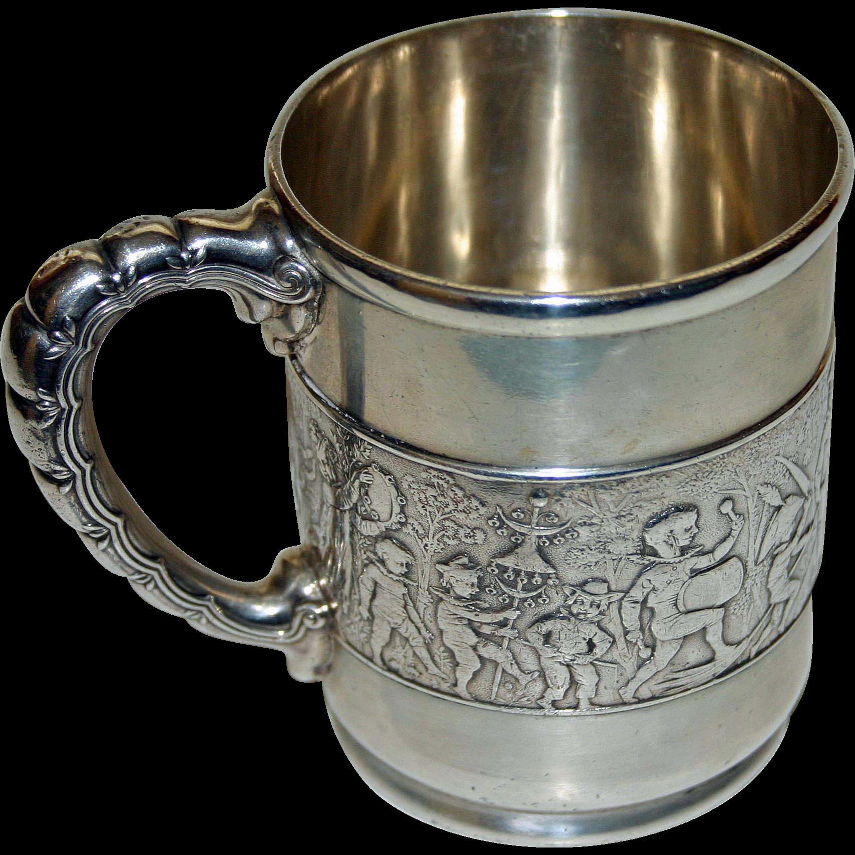 "Tiffany Antique Sterling ""Children's Parade"" Mug - Wonderful. 1873-1891"