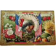 Antique Thanksgiving Postcard with Patriotic Turkey