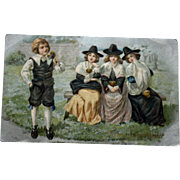 Antique Thanksgiving Postcard with Young Pilgrims