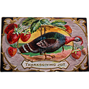 Antique Thanksgiving Postcard with Turkey and Strawberries