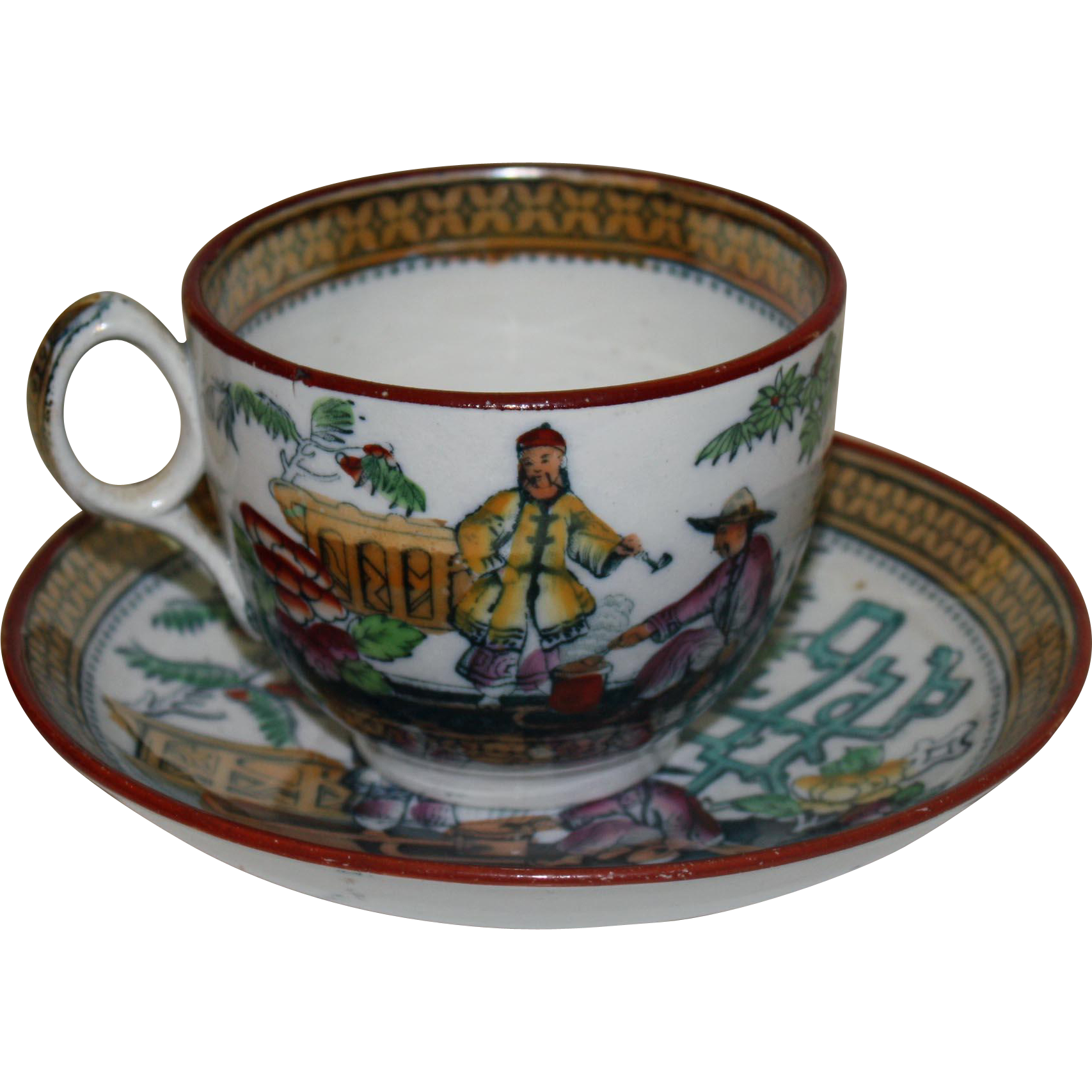 Pekin Pattern Cup & Saucer Transferware by Booth c. 1885