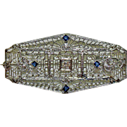 Deco 14 K White Gold Filigree Pin or Pendant w Diamond and 4 Sapphires