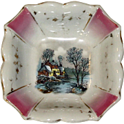 Scalloped Square Dish with House on the River Scene