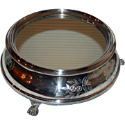 Antique Mirrored Silverplate Plateau, 16 Inches, with Wooden Base