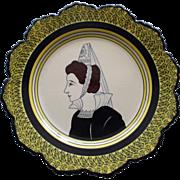 Vintage Henriot Quimper Bretonne Lady Portrait Plate