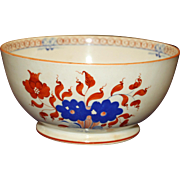 Early Nineteenth Century Deep Orange and Blue Waste Bowl