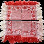 Set of 7 Vintage Fringed Red and White Napkins