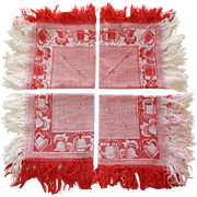 Set of 7 Vintage Red and White Fringed Napkins