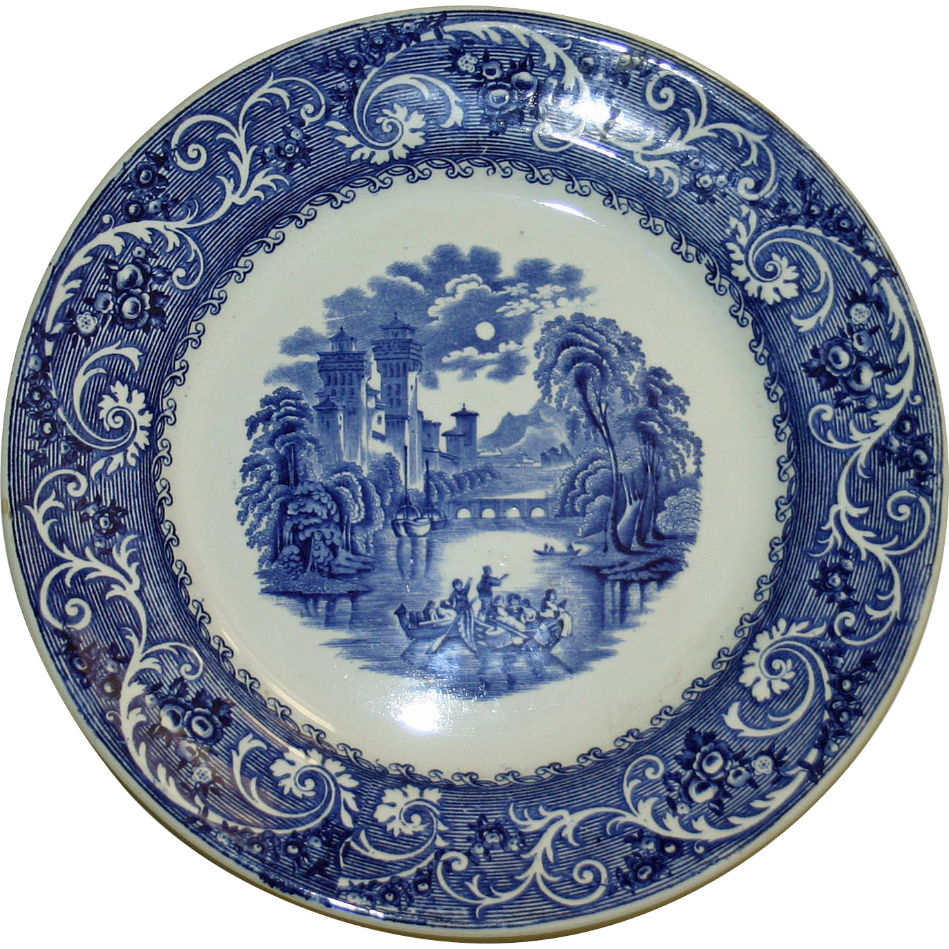 Rhine 11 Inch Transferware Plate by Ridgways Blue and White