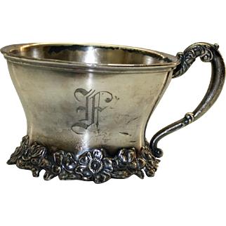 Antique Silver Plate Floral Decorated Cup by Rockford