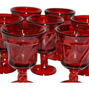 Set of 7 Ruby Red Fostoria Small Wine Glasses
