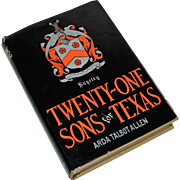 Twenty One Sons for Texas by Arda Talbot Allen: History of Rugeley Family, 1st Ed 1959, Limited Ed.