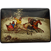 Signed Russian Lacquered Box with Horses Pulling Sleigh