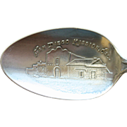 Antique Sterling Souvenir Spoon: San Diego Mission, California