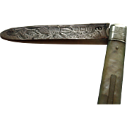 1904 Folding Sterling Fruit Knife, Decorated Blade, Mother of Pearl Handle