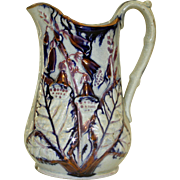 19th Century Copper Luster, Cobalt & White Milk Pitcher, Salt Glaze, Foxglove, Sculptured