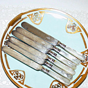 Set of 6 English Mother of Pearl Dinner Knives