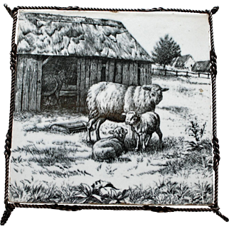 Balck & White Transferware Mintons Sheep, William Wise Tile or Trivet, c. 1880