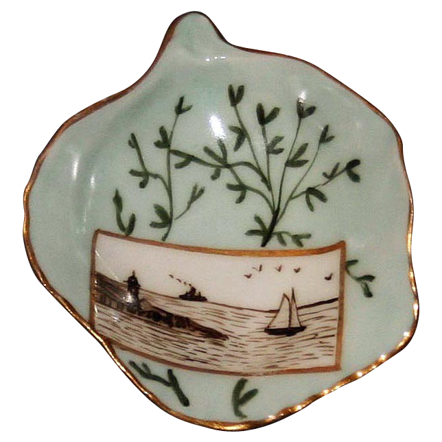 Rare Aesthatic Shaped Butter Pat with Nautical Scene & Shell Bottom