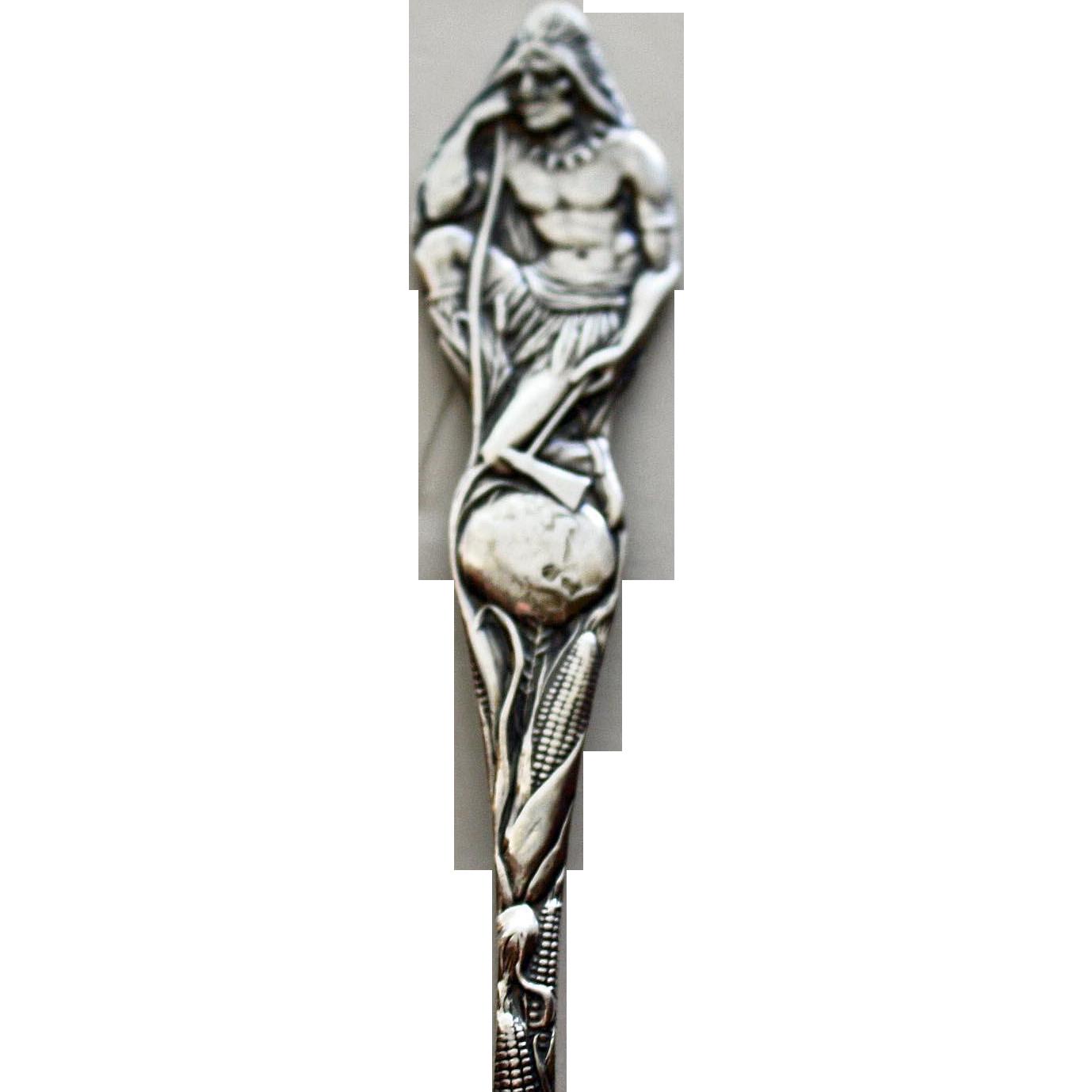 Sterling Full Figural Indian Souvenir Spoon: Albuquerque, New Mexico