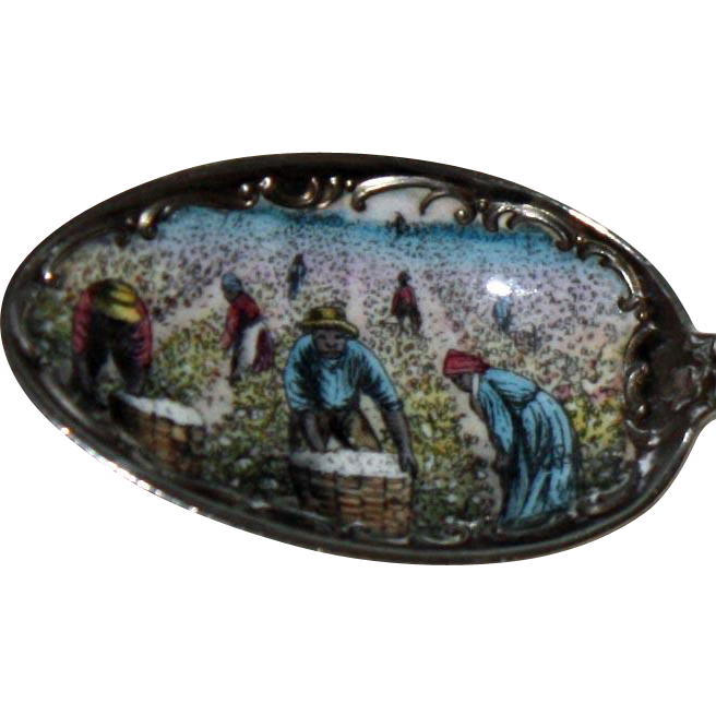 New Orleans Black Americana: Picking Cotton Sterling Souvenir Spoon w Enamel, by Watson Newell - Magnificent
