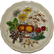 "Vintage Copeland Spode Dinner Plate in ""Reynolds"" Pattern Featuring Vivid Fruits and Flowers"