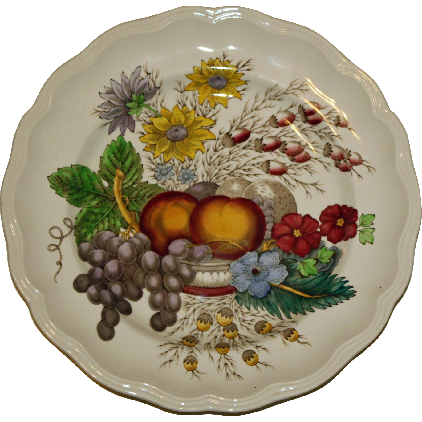 """Spode Dinner Plate in """"Reynolds"""" Pattern Featuring Vivid Fruits and Flowers"""