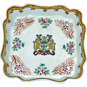 Square Shllow Dish, Scalloped, with Crest