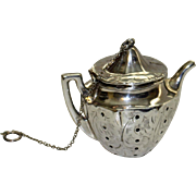 Antique Sterling Tea Ball Shaped as Teapot