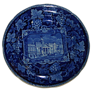 c. 1820 Enoch Wood English Historical Blue St. Philips Chapel Transferware  Plate