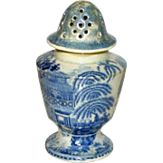 Antique Blue and White Transferware Sugar Shaker, Exotic Landscape, Very Early