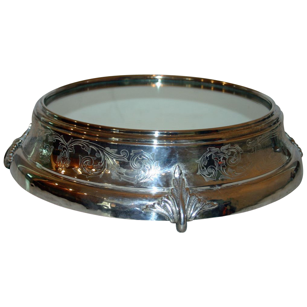 Grand Antique Mirrored Silver Plate Plateau