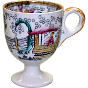 Antique English Footed Tea Cup with Chinoiserie