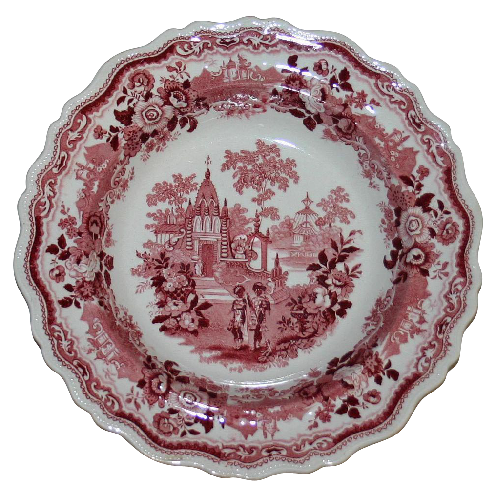 "c. 1830 Adams Red Staffordshire Transferware Bowl--""Temple Warriors"""