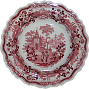 Temple Warriors Red Transferware Plate by Adams c. 1830