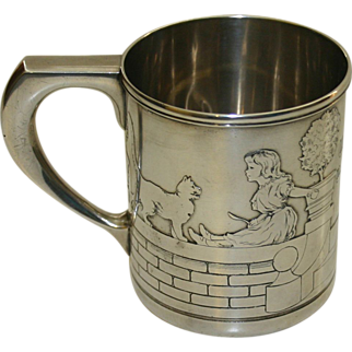 Tiffany Sterling Silver Child's Mug or Baby Cup, Dog & Cat, 1911