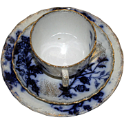 Antique Flow Blue Trio - Cup, Saucer, Dessert Plate