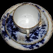 Antique Flow Blue Trio - Cup, Saucer, Dessert Plate