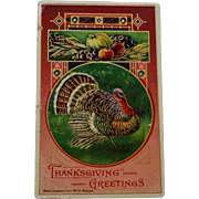 Antique Thanksgiving Postcard with Turkey & Fall Harvest