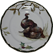 Antique Royal Doulton Plate with Two Turkeys