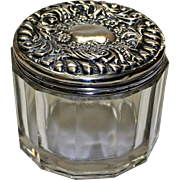 Antique American Glass Vanity Jar with Sterling Top