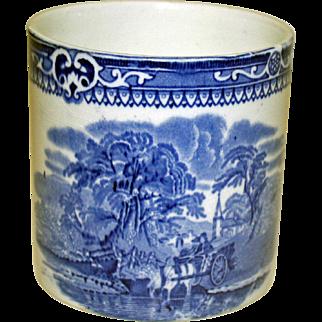 "19th Century Blue and White Beaker by G. Jones, ""Woodland"" Pattern"