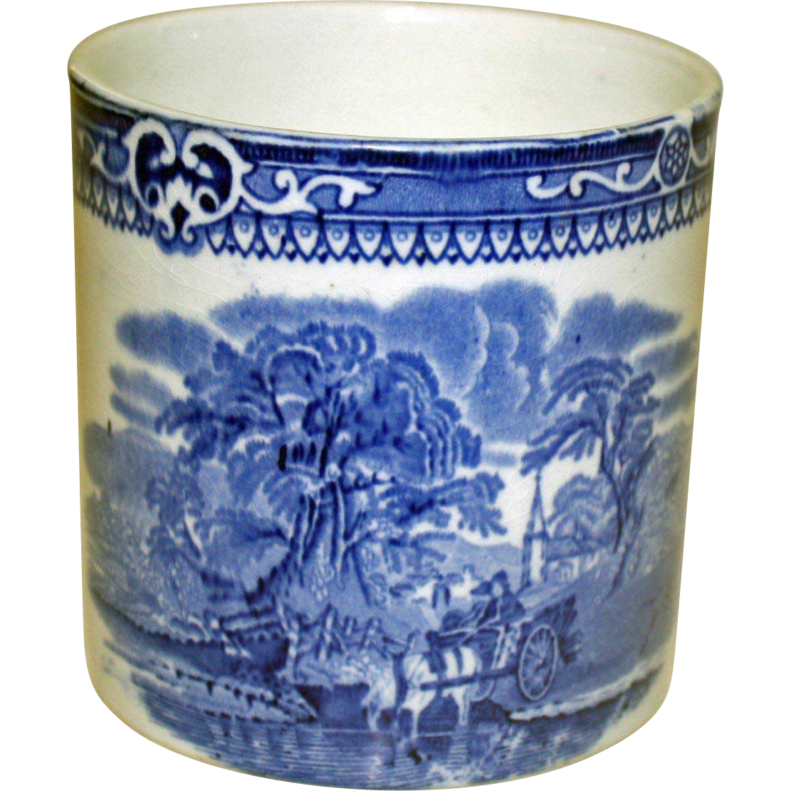 "19th Century Blue and White Beaker by G. Jones, ""Woodland"" Pattern"