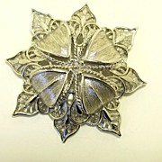 Vintage Large signed Monet Silver Tone Brooch Pin