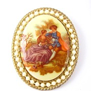 Signed Fragonard Courting Couple Transfer Brooch
