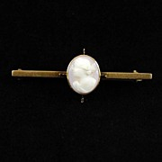 Antique 10 Karat Gold Bar Pin Shell Cameo with C clasp