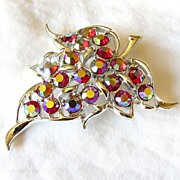 Superb Sarah Coventry Red Aurora Borealis Leaf Brooch Pin
