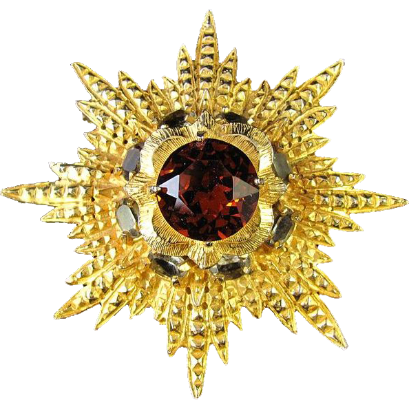 Huge Van S. Authentics Starburst with Large Copper Glass Stone Brooch