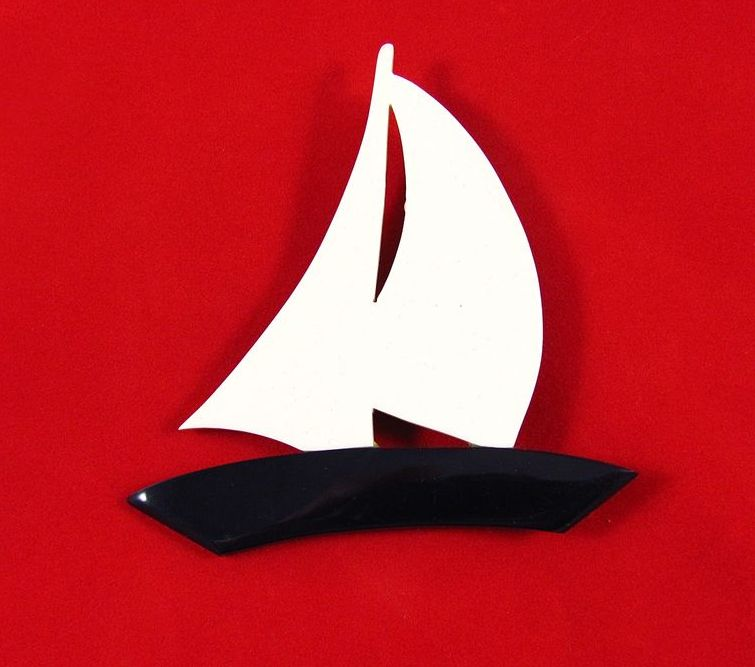 Large Vintage Plastic Sailboat Brooch Pin
