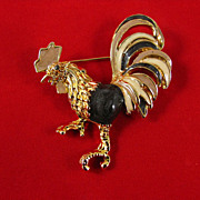 Superb Figural Rooster Enameled Brooch Pin